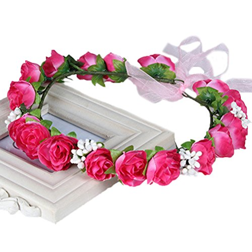 Vivivalue Floral Garland Flower Wreath Crown Headband with Ribbon Boho for Festival Wedding Rose Red Red