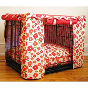Coral Daisy Dog Crate Cover