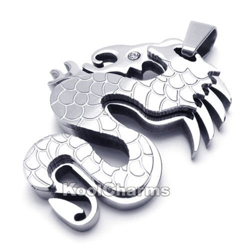 G Lucky cool Silver Dragon Pendant Charm Stainless Steel Pendant +FREE Chain KP11