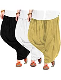 Women's BEIGE-WHITE-BLACK Cotton Patiala Salwar (pack Of 3)