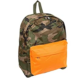 Everest Classic Backpack Bag (Camo w/ Orange Pocket)