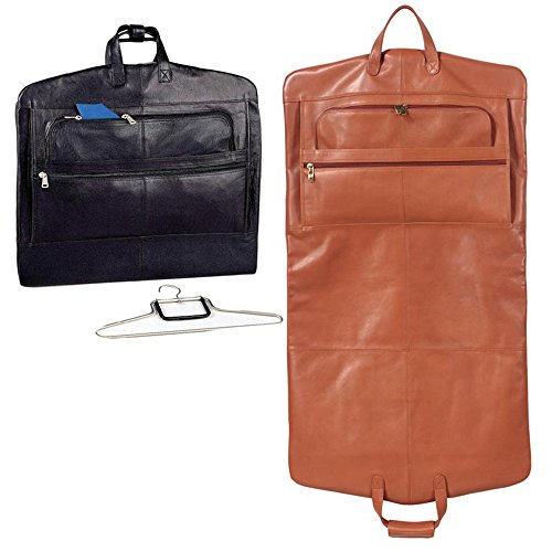 Winn-Napa-Supple-Leather-Garment-Carrier-One-Hanger-Included-Black-Cognac