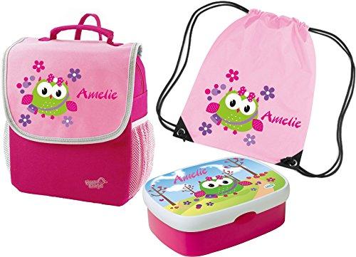 Kindergartenrucksack-Happy-Knirps-mit-Name-und-Wunschmotiv-rosa-SET-4-Rucksack-Brotdose-und-Turnbeutel