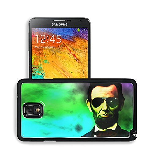 Abraham Lincoln President Neon Lights Samsung Note 3 N9000 Snap Cover Premium Aluminium Design Back Plate Case Open Ports Customized Made To Order Support Ready 5 14/16 Inch (150Mm) X 3 2/16 Inch (80Mm) X 11/16 Inch (17Mm) Msd N3 Note 3 Professional Cases