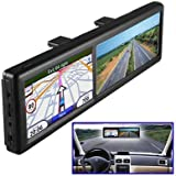 BW? 4.3 Inch Rearview Mirror with GPS Navigation, Car Bluetooth Handsfree Calling 4GB Built-in Europe Maps