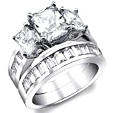 2 Carat Radiant Cut Cubic Zirconia CZ Sterling Silver Womens Wedding Engagement Ring Set Size 4 to 11