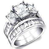Anillo de compromiso de mujer 2 quilates radiante corte cúbico Circonia Plata Sterling Talla 5