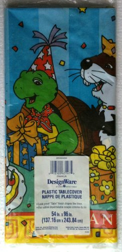 """FRANKLIN the TURTLE Birthday Party Waterproof Tablecover 96"""" Long"""