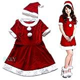サンタ 衣装 ウエスト切替ミニ ワンピース 2点セット xs000003 大きいサイズ 有 レディース クリスマス コスチューム コスプレ ミニワンピ (Mサイズ)