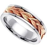 Handmade Leaf Ring 14k White & Rose Gold Band (6MM)_8.5
