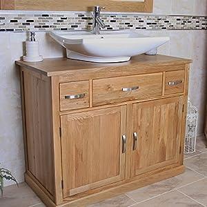 bathroom vanity unit furniture wash stand oak cabinet white ceramic