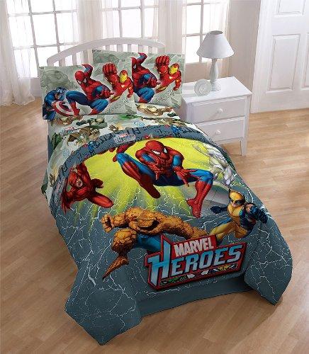 Inspirational  Marvel Heroes Attack Comics Full Bedding Sheet Set