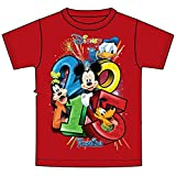 Disney Mickey Mouse Pluto Goofy and Donald Duck Dated 2015 T Shirt Red