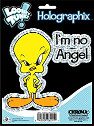 Tweety Bird with Attitude &quot;I'm No Angel&quot; Metal Flake Holographic Decal Emblem Sticker