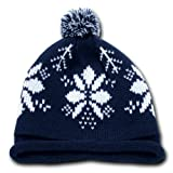 NEW DECKY SKI SKATE SNOWFLAKE ROLL UP BEENIE WITH POM, NAVY DEEP BLUE CAP