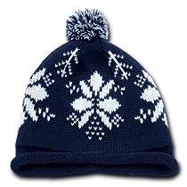 Snowflake Roll Up Beanie w/ Pom Pom- Navy