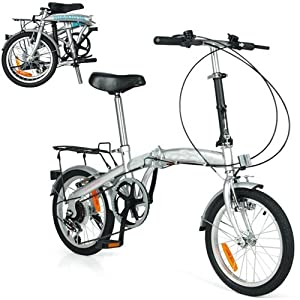 "HI-TEN STEEL 6 SPEED FOLDING BIKE 16"" WHEEL WITH SHIMANO GEARS BICYCLE COMMUTER (SILVER)"