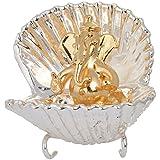 Just For You Silver Coated Metal Lord Ganesha Idol (6.5 Cm X 4.5 Cm X 7 Cm, Silver)