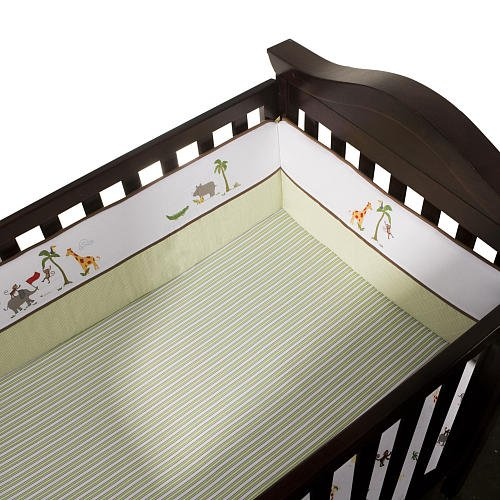 FAO Schwarz Journey Fitted Crib Sheet - Green Stripe - 1
