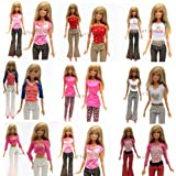 Yiding 5 Sets=10 Items=5 Clothes Outfit 5 Trousers Pants for Barbie Doll Random Style