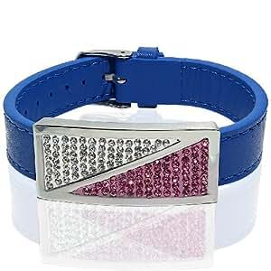 Genuine Leather Bracelet with CZ