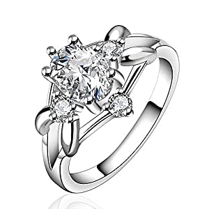 925 Silver Beautiful Clear Crystal Diamond Ring Engagement Wedding Ring Classic Design(Q) from NYKKOLA