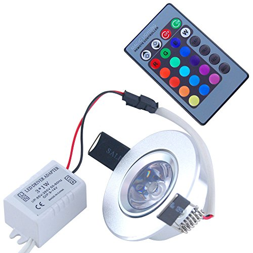 How Nice 3W Rgb Led Ceiling Light Recessed Spotlight Downlight Lamp + Ir Remote Control