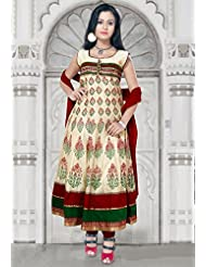 Utsav Fashion Women's Cream Chanderi Cotton Readymade Anarkali Churidar Kameez-X-Large