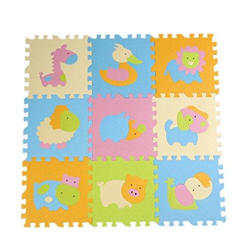 JTC 9 Stk. Babys Spielmatte Schaumstoffmatte Matte Puzzlematte Kinderteppich mit Tiermuster (Modell 1)