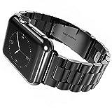 EHHE 腕時計バンド Apple Watch i Watch 42mm アップルウォッチベルト ステレンス 金属 連結器等5点セット 黒 ブラック 3連駒 スマートフォンアクセサリ