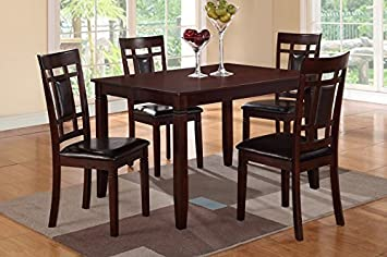 5-Piece Rectangular Dining Set with Faux Leather Seat Cushion by Poundex