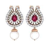 TBZ - The Original 18k Pink Gold and Diamond Party Wear Designer Stud Earrings