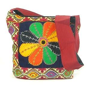 Womens Red Cross Body Bag  Beautiful Handmade Tote Beach & Shopper Cotton Shoulder Bag  Canvas Travel Bag