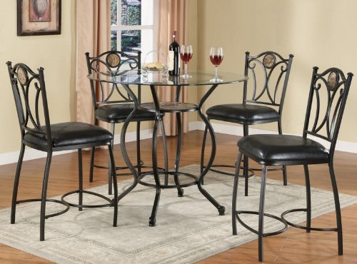 Buy Low Price Coaster 5pc Counter Height Dining Table & Stools Set Black Bronze Finish (VF_Dinset-120621-120622)