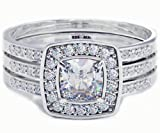Cushion Cut CZ Halo Design 3 piece Genuine 925 Sterling Silver Luxury Unique Affordable Wedding Engagement Bridal Ring Set Band - Size Q - Comes with Luxury Gift Box.