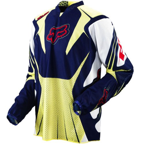 Fox Racing Airline Men's Motocross/Off-Road/Dirt Bike Motorcycle Jersey - Color: Blue/Yellow, Size: 2X-Large