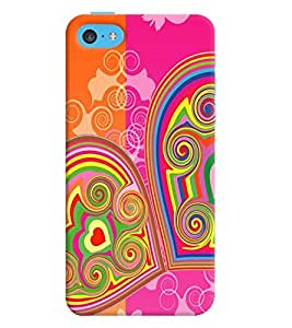 Printvisa Double Hearts Pattern Back Case Cover for Apple iPhone 5C