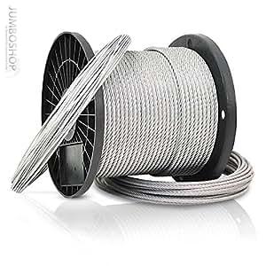 Jumbo-Shop 30m 1mm Drahtseil 1x7 verzinkt Stahlseil Forstseil Windenseil Seil Draht Stahl