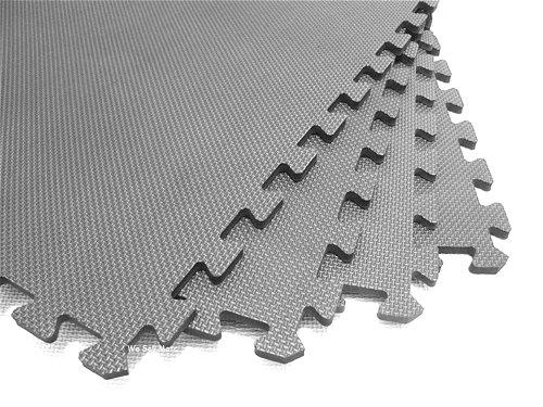 "48 Square Feet ( 12 tiles + borders) 'We Sell Mats' Light Gray 2' x 2' x 3/8"" Anti-Fatigue Interlocking EVA Foam Exercise Gym Flooring"