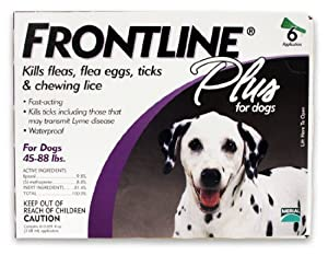 Merial Frontline Plus Flea and Tick Control for  45 to 88-Pound Dogs, 6 Applicators