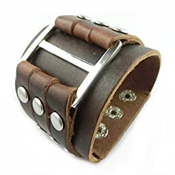 Coffee Men\'s Cool Wide Big Buckle Rivet Genuine Leather Cuff Wristband Bracelet Bangle