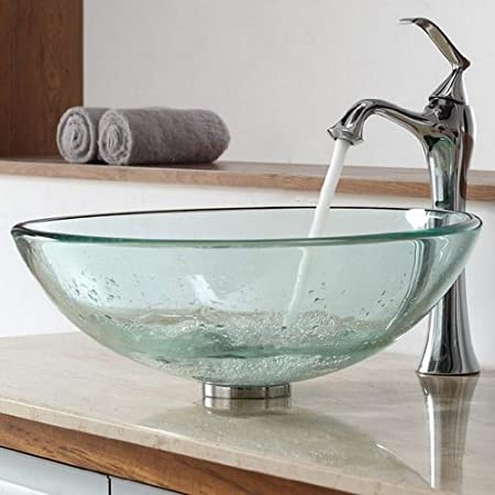 Glass Vessel Bathroom Sink with Single Handle Single Hole Faucet Sink Finish: Clear, Faucet Finish: Chrome