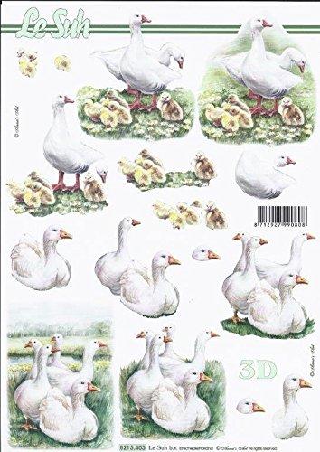 3D Bogen Ente Gans Format A4 basteln Scrapbook Stanzbogen Deko GWI 8215.403