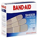 Band Aid Comfort-Flex Adhesive Bandages, Sheer, Assorted, 60 bandages