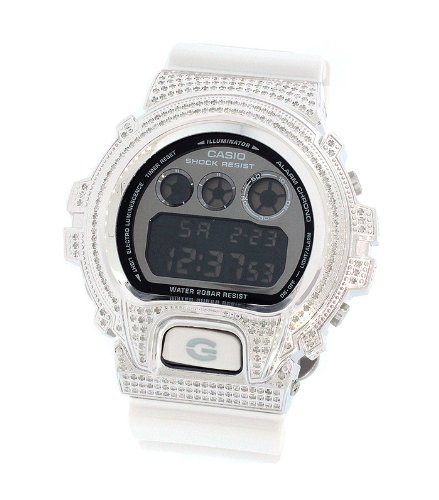 Casio Men's G Shock 2.50Ct Full Case Diamonds White Band Watch DW-6900MR7