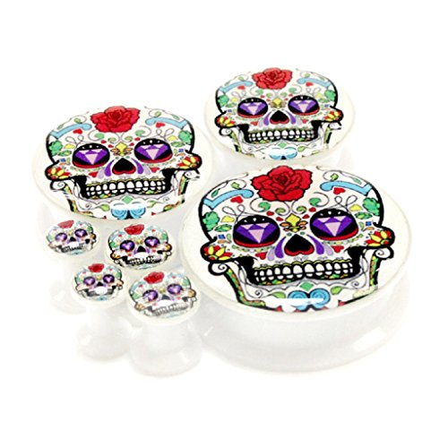 Pair 14Mm (More Size Available) Mexican Diamond Eyes Sugar Skull Logo Acrylic Internal Thread Screw Fit Flesh Tunnels Black Ear Plugs