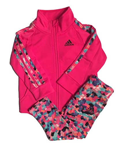 Adidas Baby Girls 2 Piece PinkTricot Jacket and Printed Leggings Set 18M