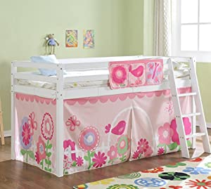 Cabin Bed Mid Sleeper in White with Tent FLORAL 578WG FLORAL
