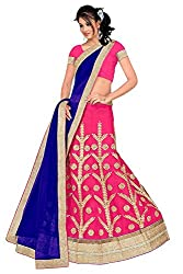 Pushty Fashion Pink and Navy Blue Embroidered net Lehnga