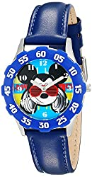 Disney Kids W001593 Mickey Mouse Stainless Steel and Blue Faux-Leather Strap Watch